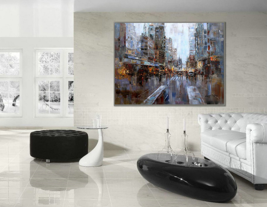 "36x48"" / 90X120cm Modern Contemporary Skyline Wall Art New York Abstract Hand Painted Oil Painting on Canvas"
