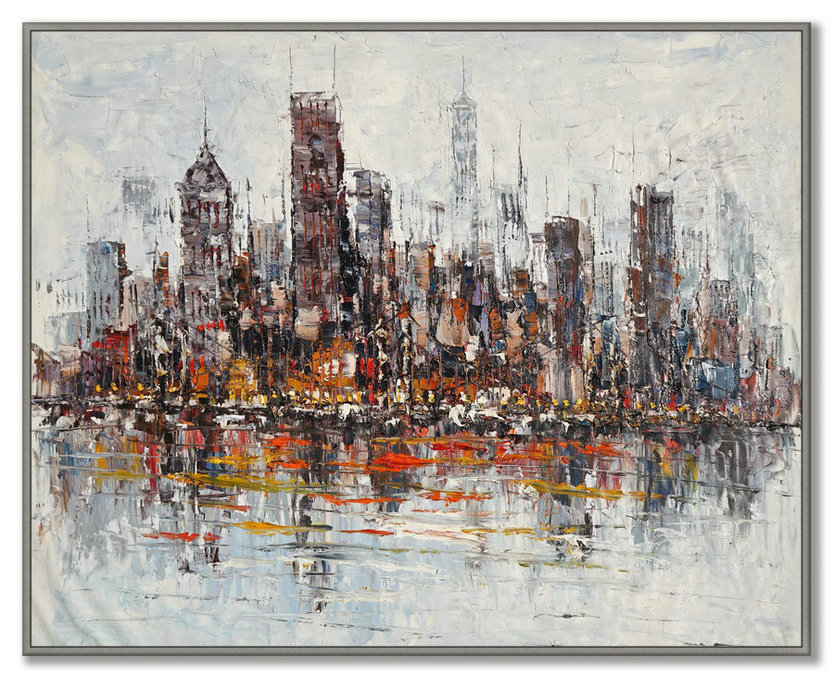Original Painting of New York Skyline Unique One of a Kind