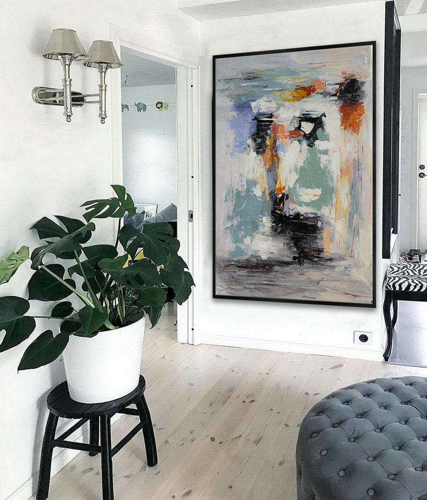 "Extra Large Palette Knife Acrylic Painting On Canvas Oversize Vertical Modern Contemporary Wall Art Home Office Decor 48X72"" / 120X180cm"