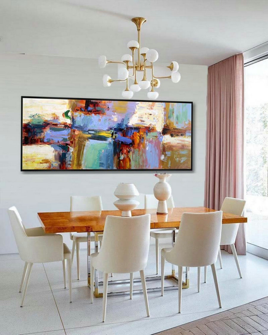 "Abstract Painting Large Modern Wall Art Contemporary Panoramic Palette Knife Painting 27x72""/70x180cm"