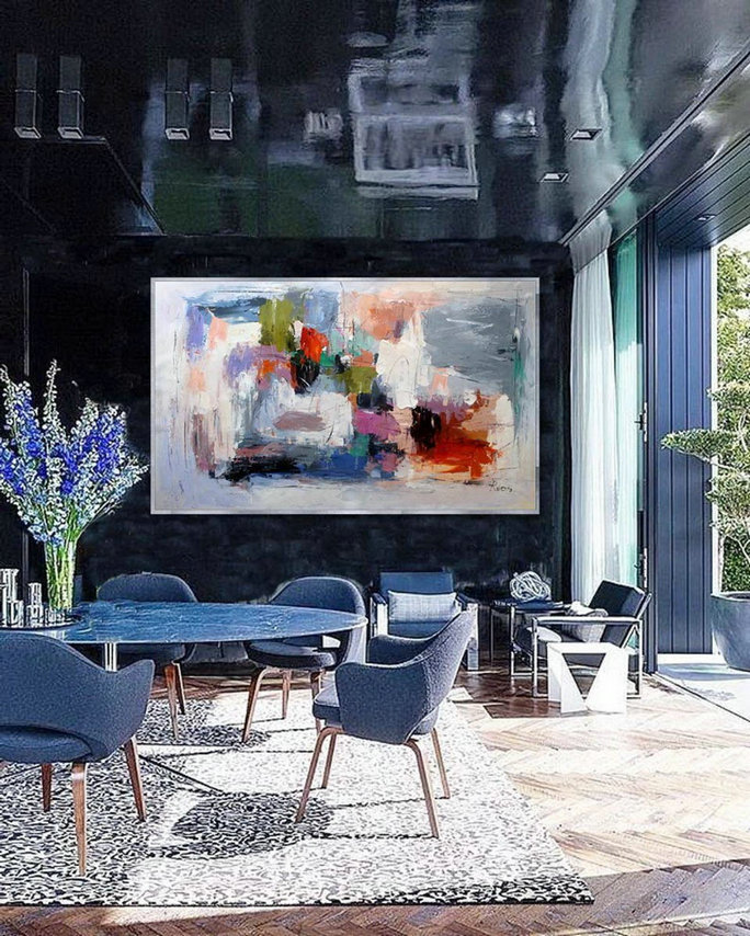 Extra Large Abstract Hand Painted Palette Knife Acrylic Painting On Canvas Oversize Contemporary Modern Wall Art Home Office Decor