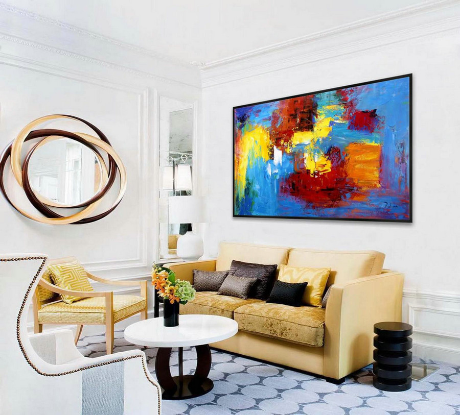 Extra Large Abstract Hand Painted Palette Knife Acrylic Painting On Canvas Colorful Oversize Contemporary Modern Wall Art Home Office Decor