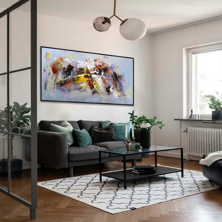 "36x71"" / 90x180cm Abstract Contemporary Horizontal Modern Painting Hand-painted Large wall Art"