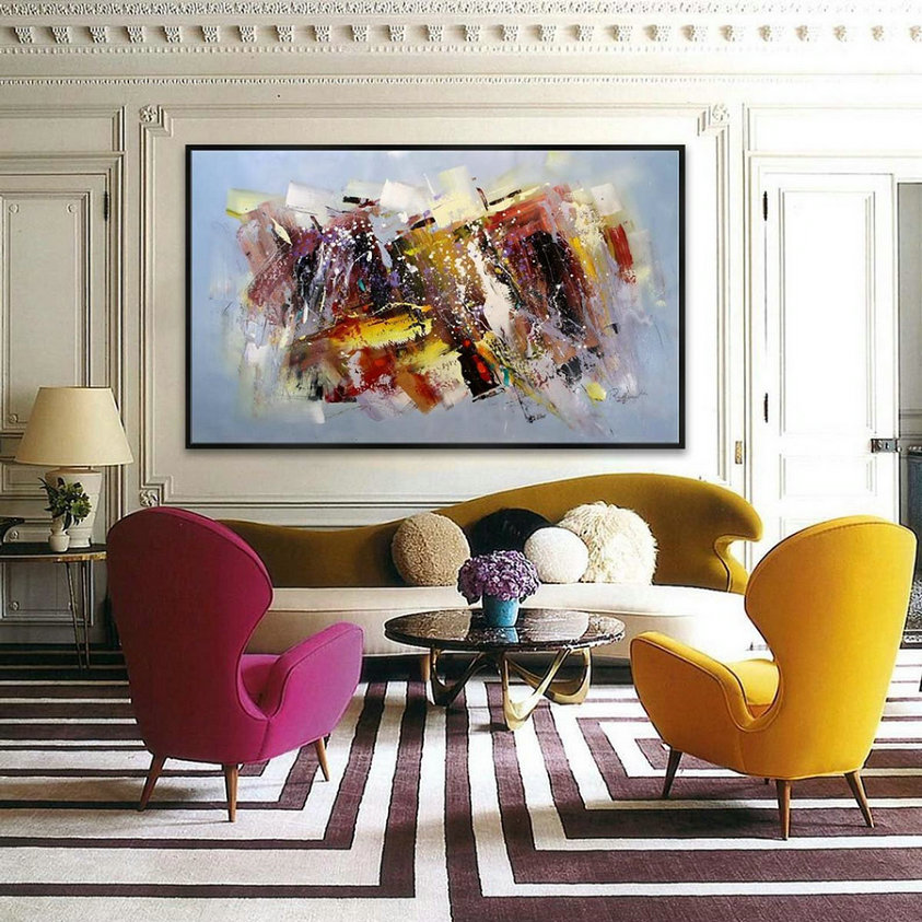 "47X79"" /120X200cm Abstract Contemporary Horizontal Modern Painting Hand Acrylic painted Large Panoramic wall Art"
