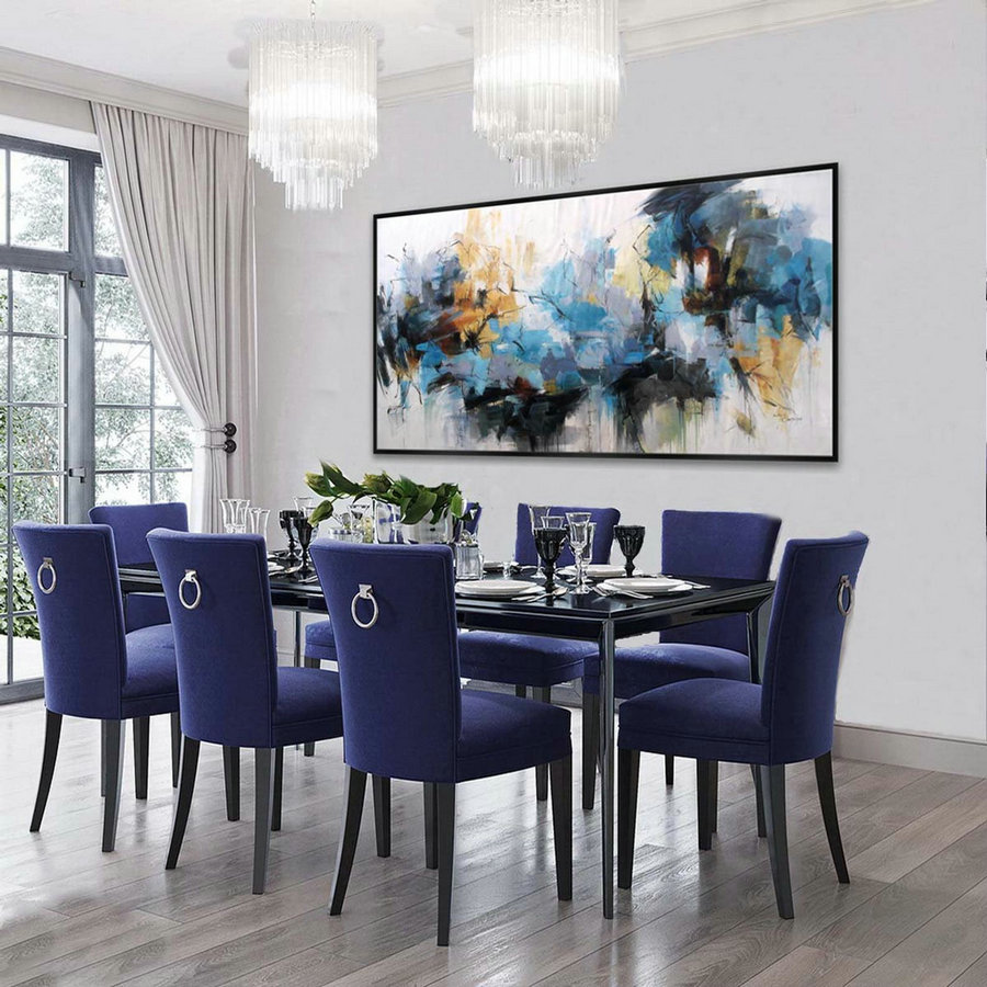 Brush Strokes Bright Color Hand Painted Abstract Wall Art on Canvas for Colorful Home Living Dinning Bed Room Office Hotel Bar Restaurant