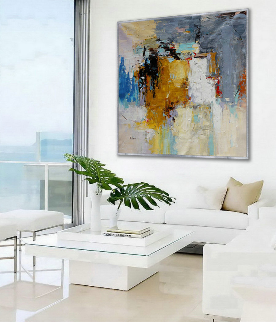 "Abstract Wall Art Hand painted Acrylic Palette Knife Oversize Large Square Painting on Canvas 60 x 60"" for Living Dining Room Office"