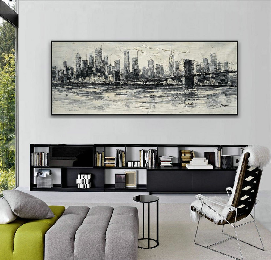 New York Brooklyn Bridge Skyline Modern Contemporary Large Wall Art Work Original Oil Painting on Canvas