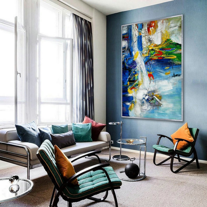 "Colorful Modern Contemporary Artwork Extra Large Vertical Abstract Wall Art Hand painted Acrylic Painting on Canvas 48X72"" XXL 120X180cm"
