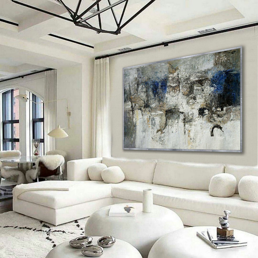 "Simple Minimal Modern Neutral Wall Art Abstract Rustic Minimalist Contemporary Hand Painted Oil Painting on Canvas Large 48x72"" 122x183cm"