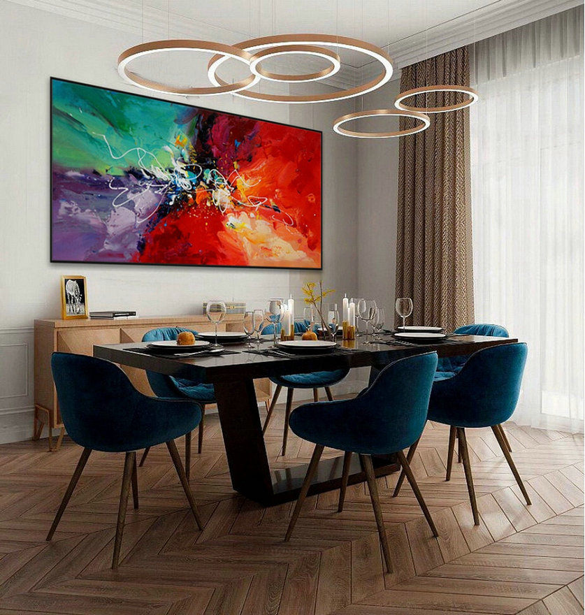 Colorful Modern Contemporary Artwork Large Horizontal Abstract Wall Art Hand painted Acrylic Painting on Canvas