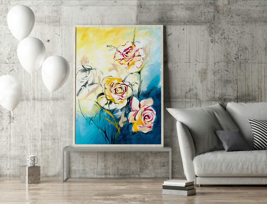 Floral Abstract Art,Abstract Flower Painting,Abstract Wall Art,Semi Abstract,Large Wall Art,Original Paintings,Livingroom Decor,XL.LAS055