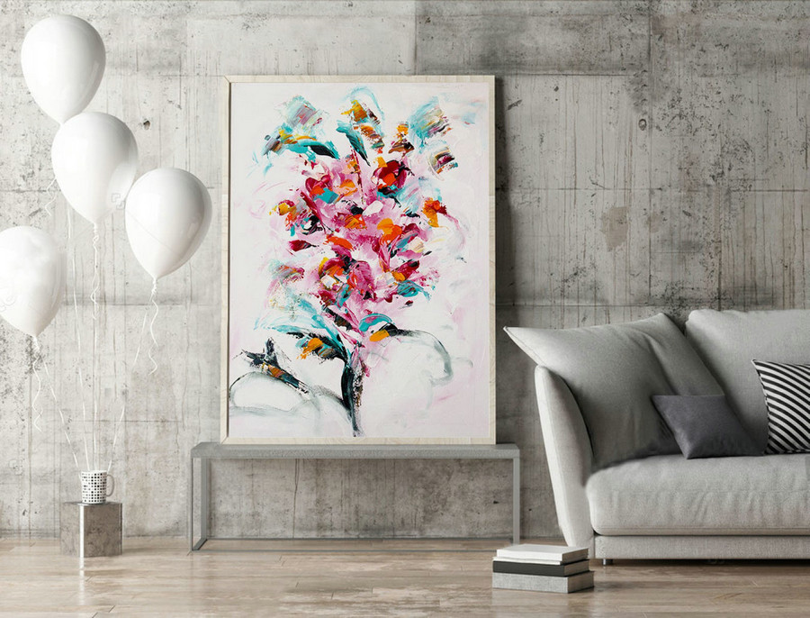 Floral Abstract Art,Abstract Flower Painting,Abstract Wall Art,Semi Abstract,Large Wall Art,Original Paintings,Livingroom Decor,XL.LAS056