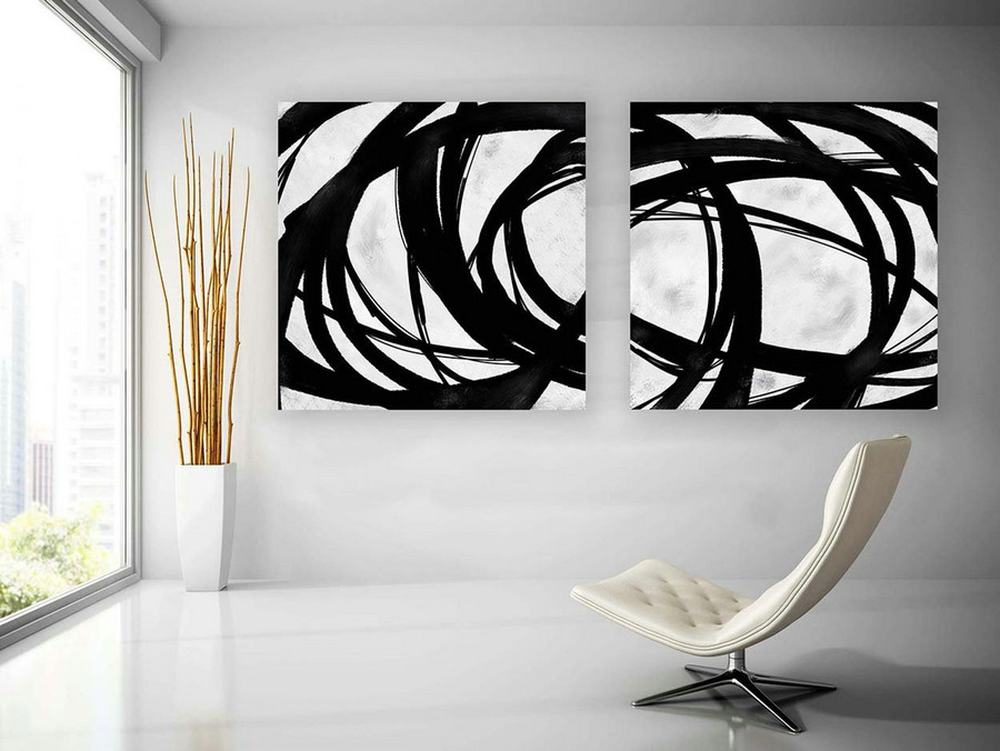 Set of 2,Extra Large Minimal Abstract Art,Black and White,Large Abstract Paintings on Canvas,Abstract Paintings, UNSTRETCHED Pa0083_pas084