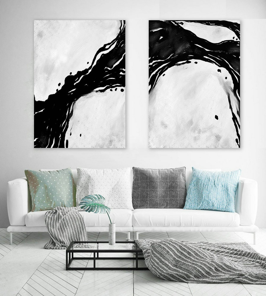 Set of 2,Extra Large Minimal Abstract Art,Black and White,Large Abstract Paintings on Canvas,Abstract Paintings, UNSTRETCHED Pa0066_paS067
