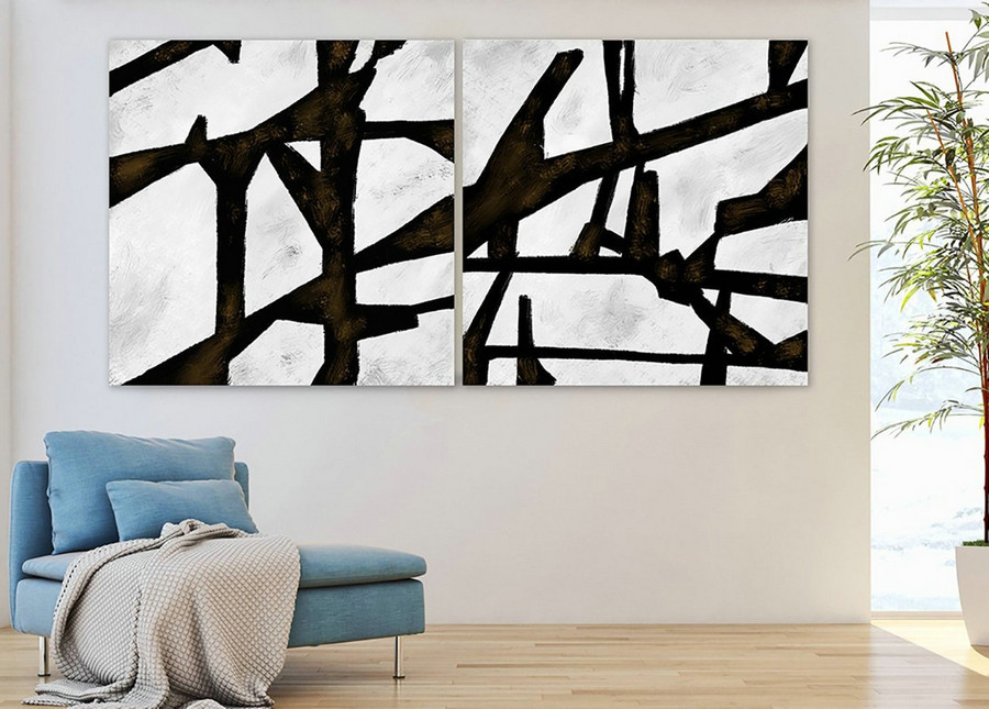 Set of 2,Extra Large Minimal Abstract Art,Black and White,Large Abstract Paintings on Canvas,Abstract Paintings, UNSTRETCHED Pa0012_paS013