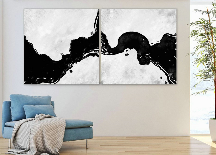 Set of 2,Extra Large Minimal Abstract Art,Black and White,Large Abstract Paintings on Canvas,Abstract Paintings, UNSTRETCHED Pa0068_paS069