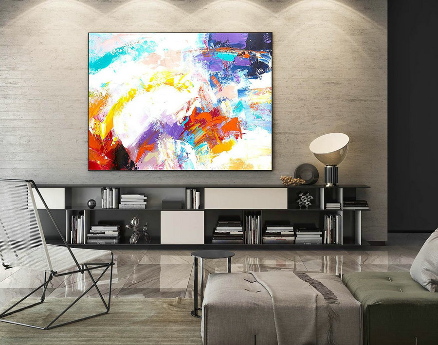Modern Canvas Oil Paintings,Large Oil Painting,Textured Wall Art,Textured Paintings,Large Colorful Landscape Abstract,Original Art LaS078