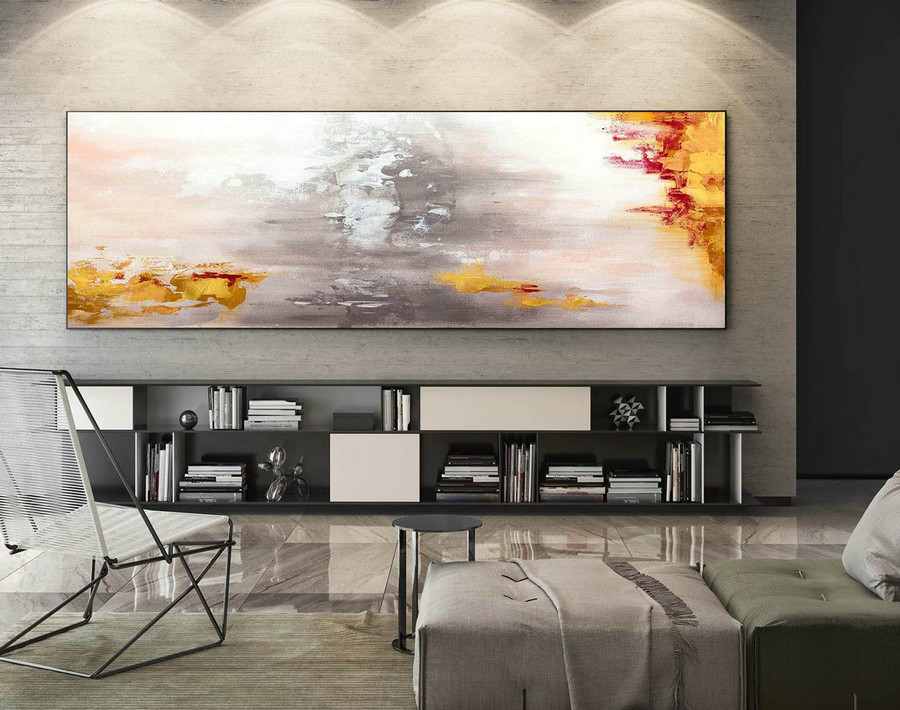 Large Abstract Painting,bright painting art,modern abstract painting,extra-large wall art,textured wall art,Large Panoramic Art,Gold XaS218