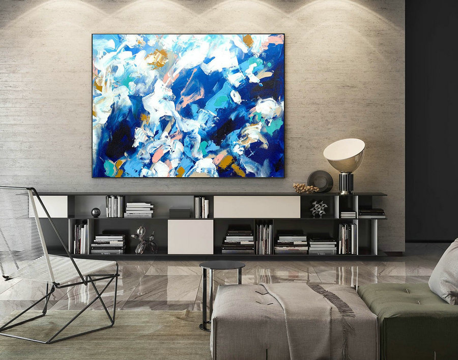 Modern Canvas Oil Paintings,Large Oil Painting,Textured Wall Art,Textured Paintings,Large Colorful Landscape Abstract,Original Art LaS006