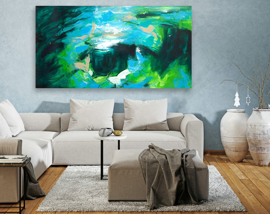 Large Canvas Art - Abstract Painting on Canvas, Contemporary Wall Art, Original Oversize Painting LAS075