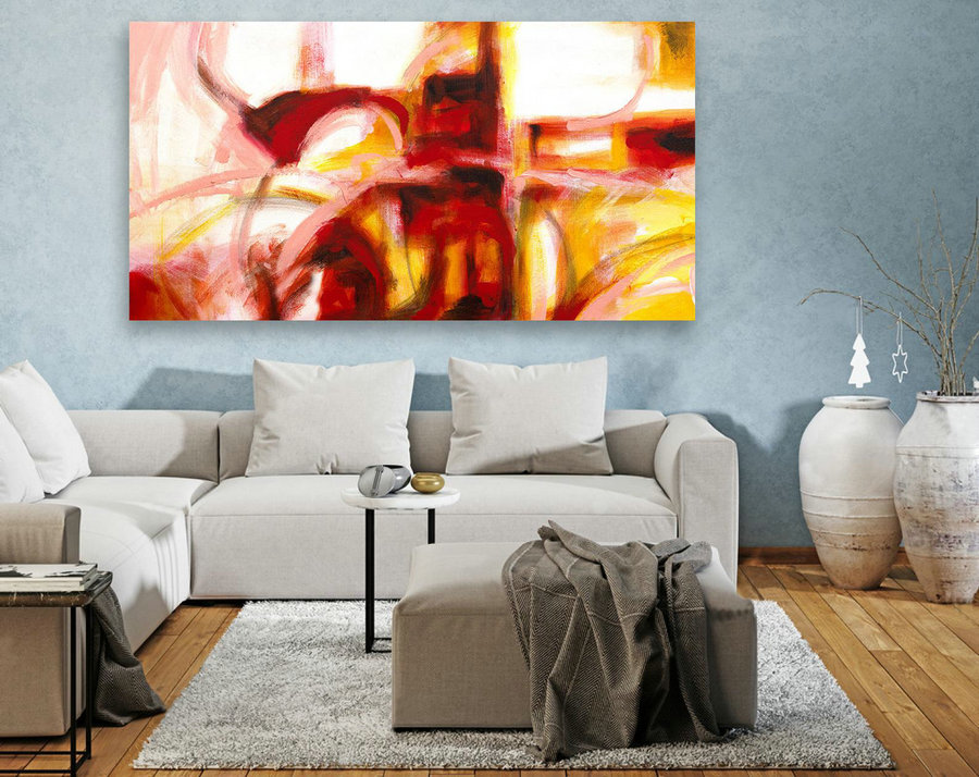 Large Canvas Art - Abstract Painting on Canvas, Contemporary Wall Art, Original Oversize Painting LAS110