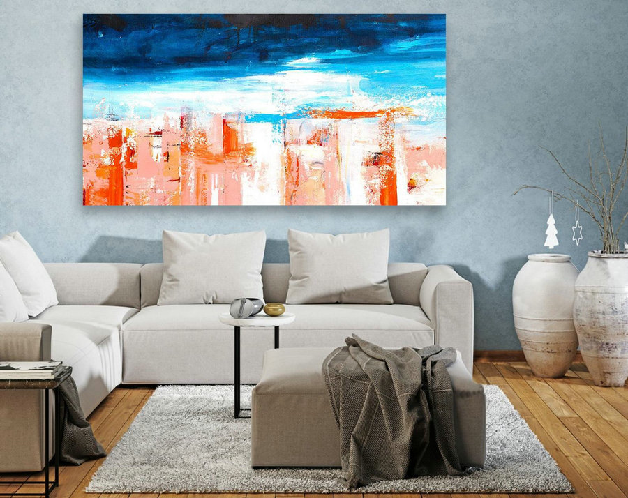 Abstract Canvas Art - Large Painting on Canvas, Contemporary Wall Art, Original Oversize Painting LAS111
