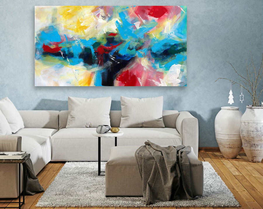 Abstract Canvas Art - Large Painting on Canvas, Contemporary Wall Art, Original Oversize Painting LAS114