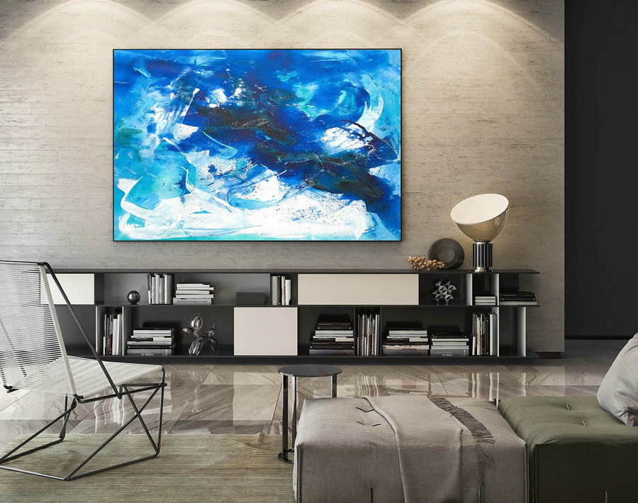 Modern Canvas Oil Paintings,Large Oil Painting,Textured Wall Art,Textured Paintings,Large Colorful Landscape Abstract,Original Art LaS155