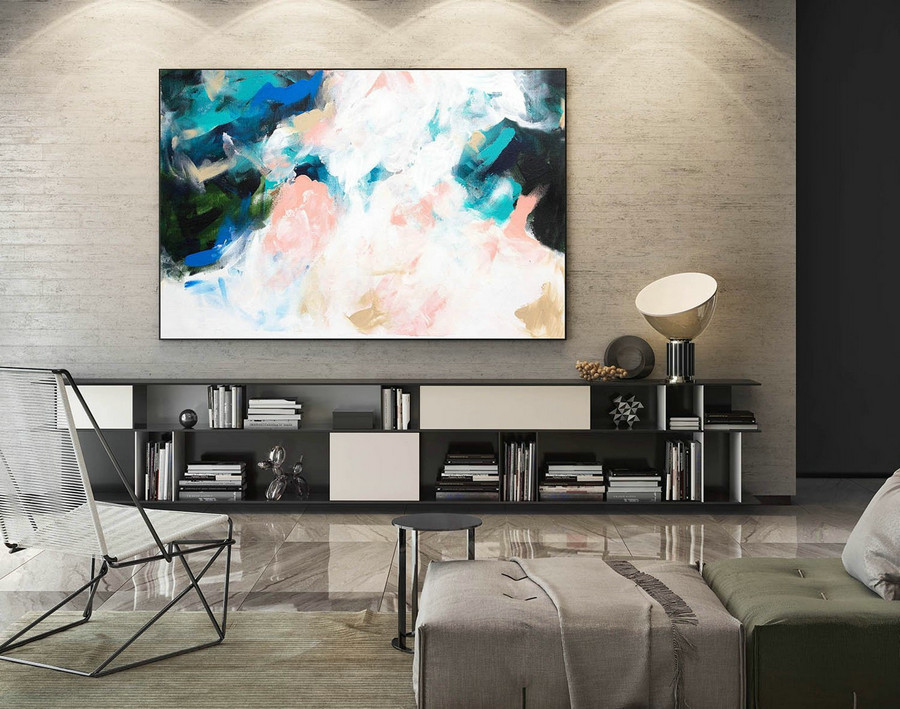 Canvas Abstract Wall Art,Abstract Painting,Extra Large Wall Art,Original Abstract,Oversize Wall Decor,Above Bed Decor,Pink Blue Green LaS186