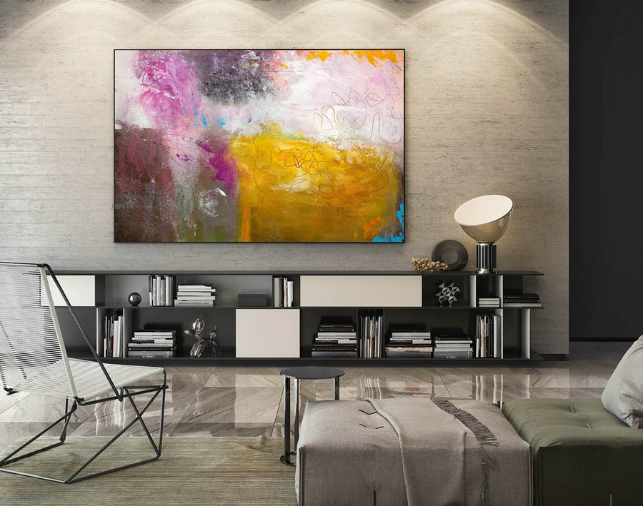 Contemporary Wall Art - Abstract Painting on Canvas, Original Oversize Painting, Extra Large Wall Art LaS238