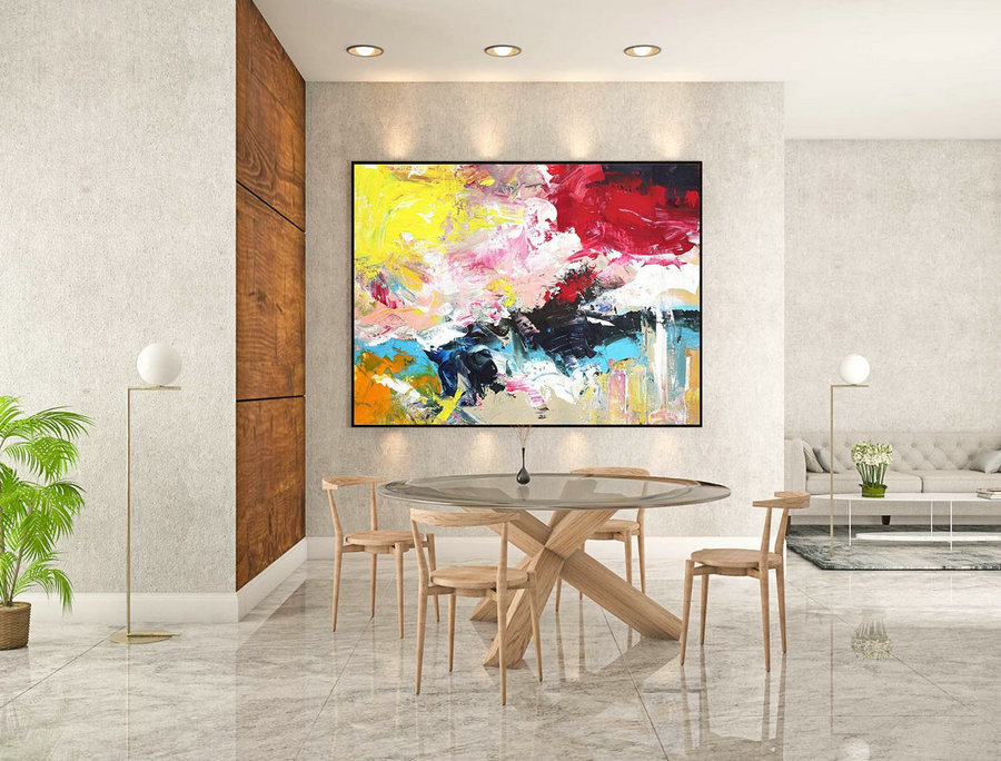 Original Abstract Canvas Art,Abstract Painting,Art On Canvas,Modern Abstract Art,Canvas Wall Art,Impasto Painting,YellowRed Pink Teal LaS405