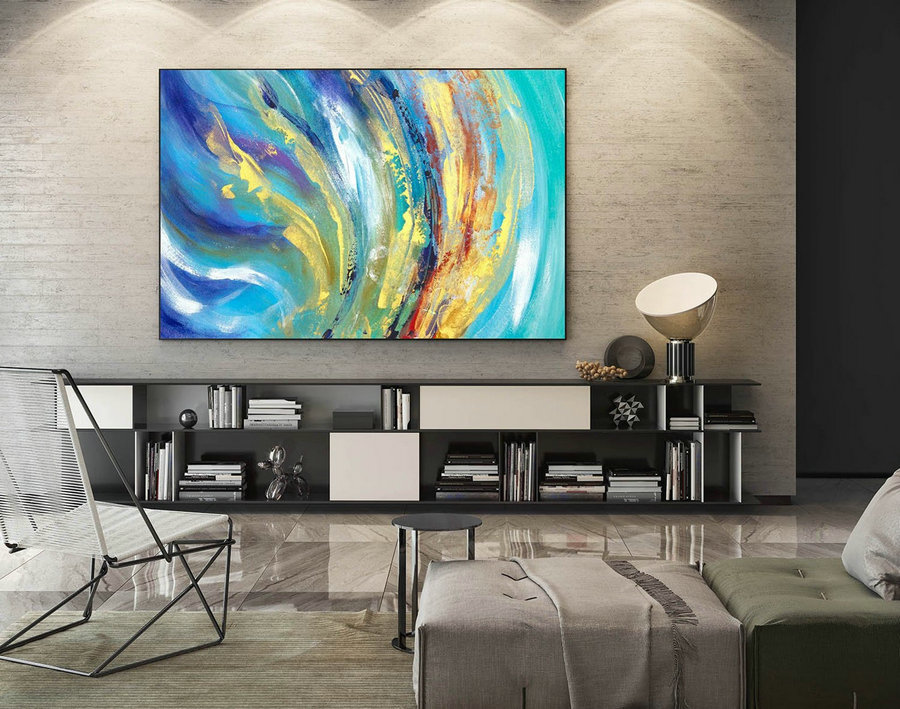 Abstract Canvas Art - Large Painting on Canvas, Contemporary Wall Art, Original Oversize Painting LaS558