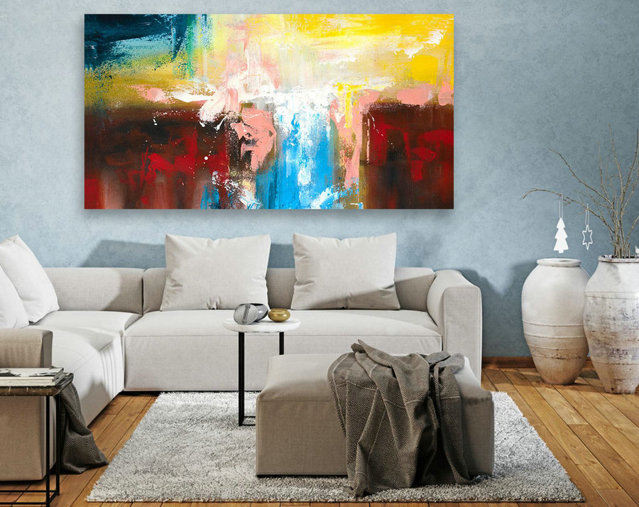 Contemporary Wall Art - Abstract Painting on Canvas, Original Oversize Painting, Extra Large Wall Art LAS098