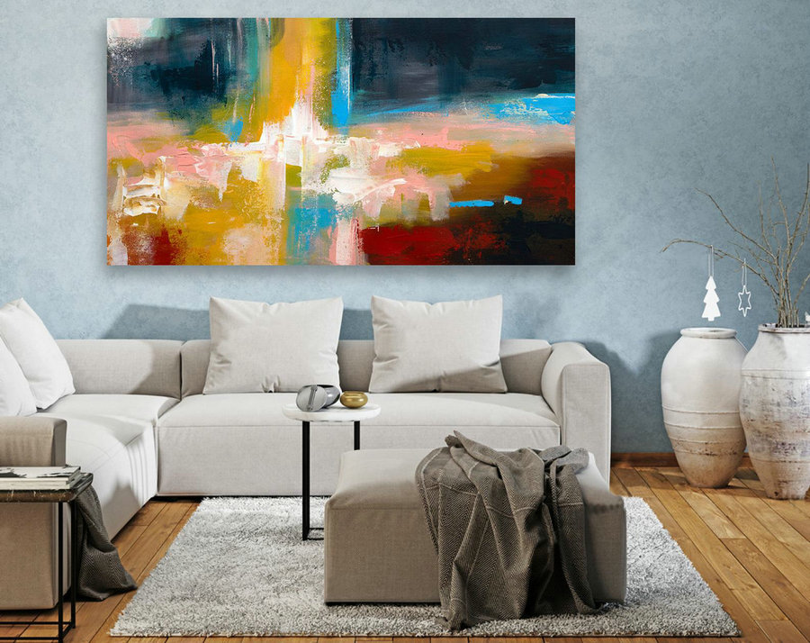Abstract Canvas Art - Large Painting on Canvas, Contemporary Wall Art, Original Oversize Painting LAS117