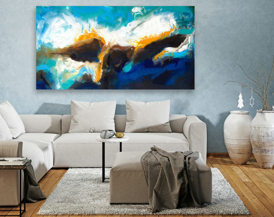 Abstract Canvas Art - Large Painting on Canvas, Contemporary Wall Art, Original Oversize Painting LAS119