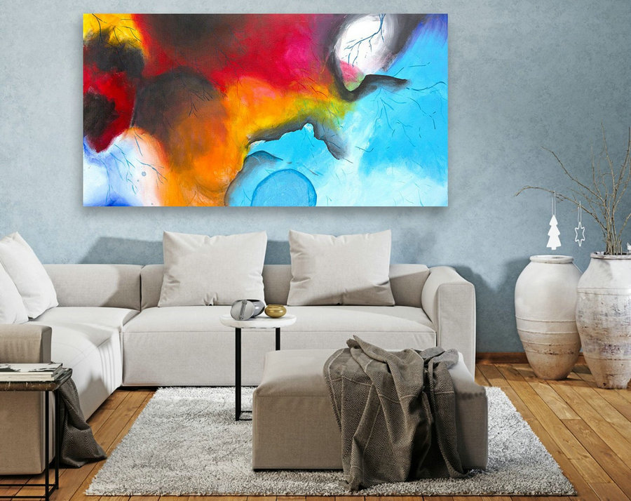 Contemporary Wall Art - Abstract Painting on Canvas, Original Oversize Painting, Extra Large Wall Art LAS072