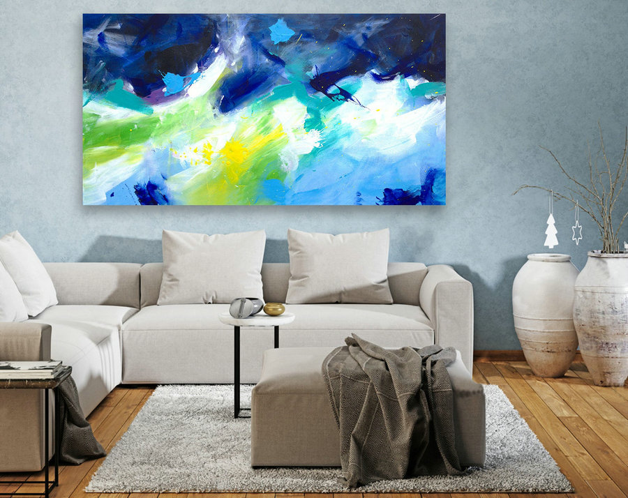 Extra Large Wall Art, Panoramic Original Paintings, Abstract Canvas Art,Large Abstract Painting, Modern Paintings,Contemporary LAS071