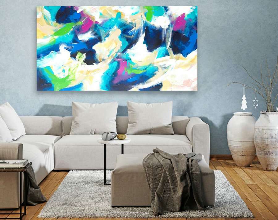 Large Canvas Art - Abstract Painting on Canvas, Contemporary Wall Art, Original Oversize Painting LAS068