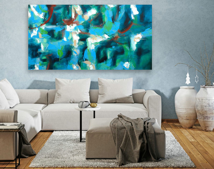 Abstract Painting on Canvas - Extra Large Wall Art, Contemporary Art, Original Oversize Painting LAS085