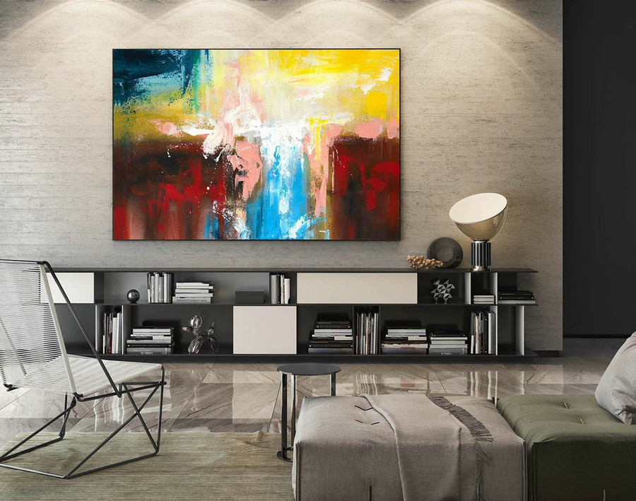 Modern Canvas Oil Paintings,Large Oil Painting,Textured Wall Art,Textured Paintings,Large Colorful Landscape Abstract,Original Art LaS098