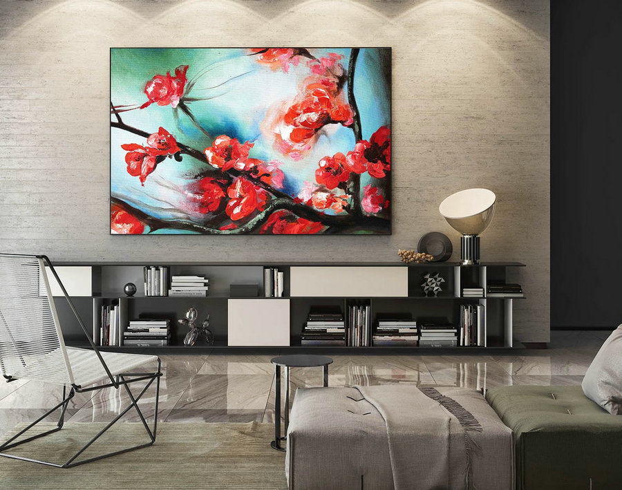 Contemporary Wall Art - Abstract Painting on Canvas, Original Oversize Painting, Extra Large Wall Art LaS360