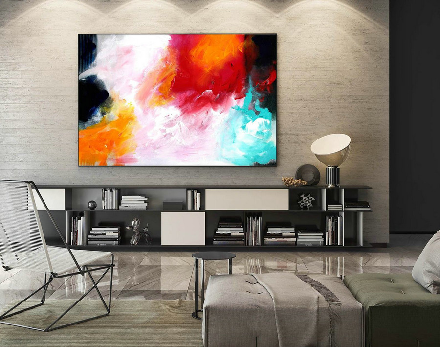 Abstract Canvas Art - Large Painting on Canvas, Contemporary Wall Art, Original Oversize Painting LaS436