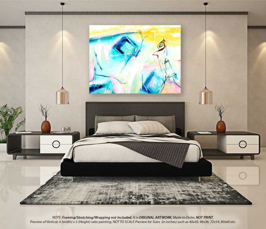 Abstract Painting on Canvas Wall Art Decor - Large Wall Art, Oversized Paintings on Canvas, Oversized Wall Art, Original PaintingsYNS168