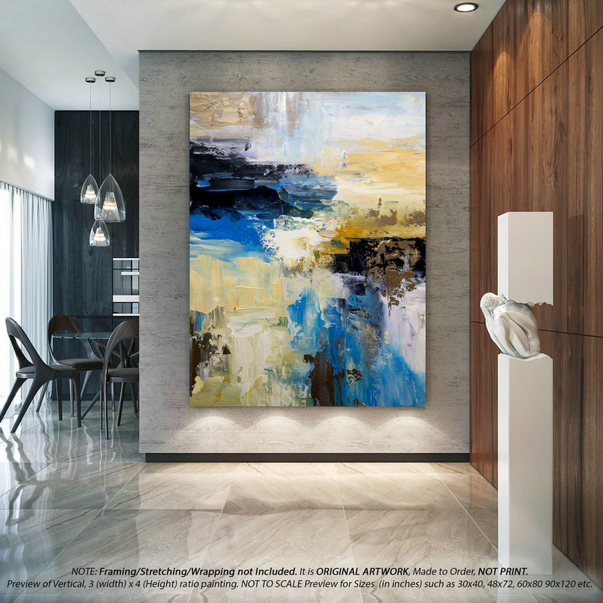 Extra large Modern Abstract Painting - Original Wall Art, Canvas Wall Art, Original Paintings on Canvas,Modern Bedroom Wall Decor DMS100