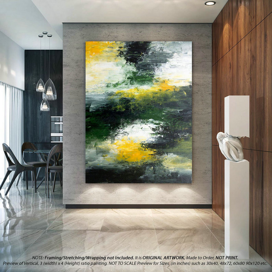 Extra Large Wall Art - Modern Abstract Painting on Canvas, Office Wall Art, Original Artwork, Large Painting, Housewarming Gift - DMS004