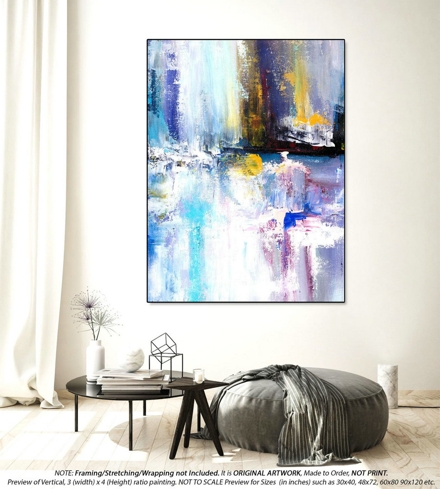 Extra Large Abstract Painting - Modern Painting, Bedroom Wall Art, Housewarming Gift, Textured Artwork, Acrylic Painting,Original Art YNS058