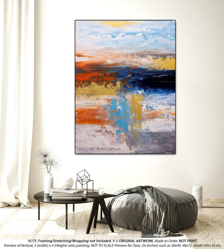 Original Abstract Painting - Oversized Paintings on Canvas, Extra Large Original Wall Art Painting, Modern Bedroom Wall Decor DMS101