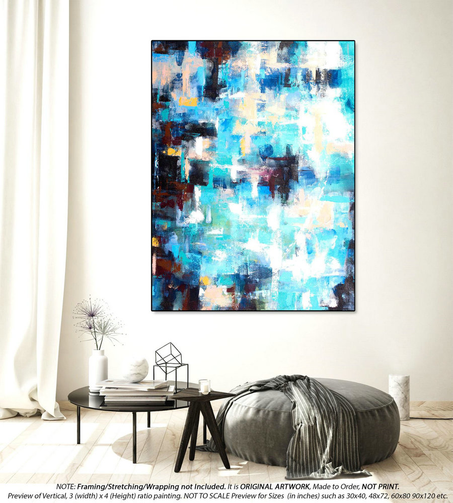 Original Abstract Painting Office Wall Art - Original Paintings on Canvas, Oversized Painting, Original acrylic Painting on canvasYNS138