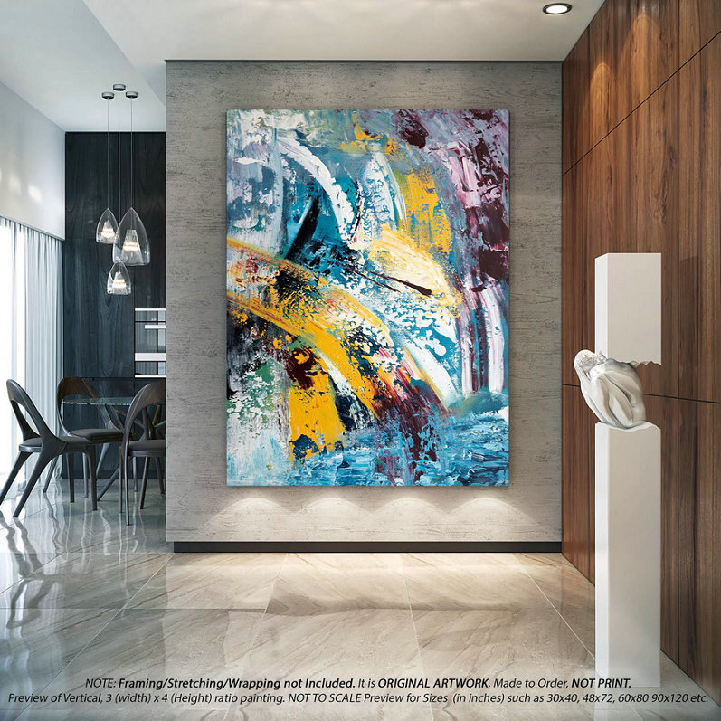 Extra Large Wall Art - Abstract Painting on Canvas, Acrylic Painting, Large Original Art, Modern Home Decor , Oversized Wall Art -DM0028