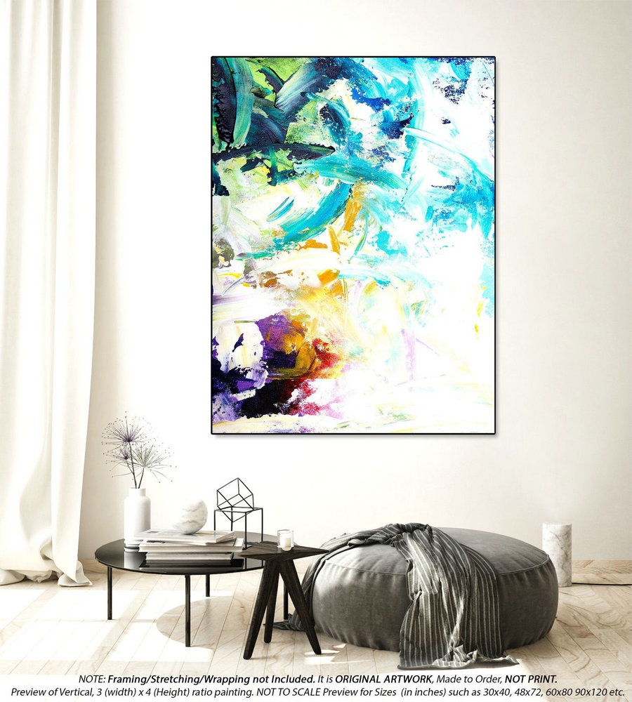 Original Acrylic Abstract Painting - Extra Large Wall Art, Oil Paintings, Kithchen Wall Decor, Housewarming Gift, Painting On Canvas YNS060